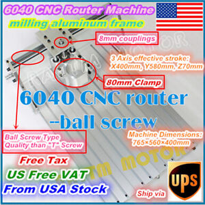 us Stock 6040 Cnc Router Engraving Milling Machine Aluminum Frame 80mm Clamp