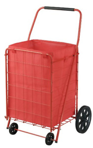Folding Shopping Cart Heavy Duty Grocery Laundry Utility Steel Extra Large Red