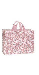 1000 Wholesale Large Pink Damask Frosted Plastic Shopping Bags