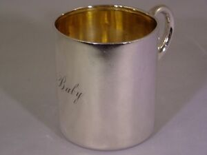 Rare Antique 1880 Tiffany Co Sterling Silver Baby Infant Cup W Original Bag