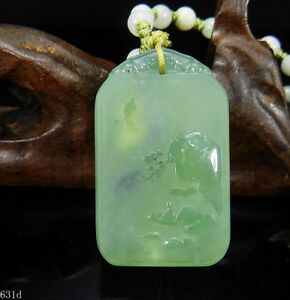 100 Natural Hand Carved Jade Pendant Jadeite Necklace Fishing In Winter 631d