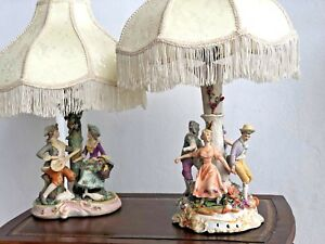 Vintage Set Of 2 Porcelain Table Lamps W Shade
