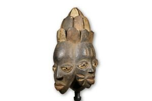 Yoruba African Double Faced Mask 14 With Stand Nigeria