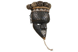 Salampasu Ibuku Society African Mask With Copper Braided Face On Custom Stand