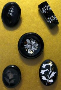 5 Antique Black Glass Buttons With Fired Enamel Or Chemical Paint Decorations