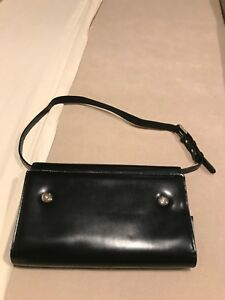 Compact 1 25 Rings Black Leather Franklin Covey Planner binder Purse Attache