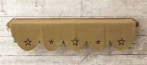 New Primitive Country Rustic Black Star W Buttons Burlap Farmhouse Shelf Liner