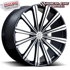 Borghini B18 Black Machined Milled Lip 24 x9 5 Custom Wheels Rims set 4
