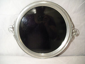 Vintage Pewter Art Nouveau Round Floral Handled Serving Tray Black Insert