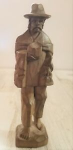 Vintage Hand Carved Folk Art Figurine Bearded Barefoot Campesino Wearing Hat