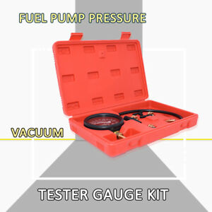 Car Fuel Pump Vacuum Tester Gauge Leak Carburetor Pressure Diagnostics W Case