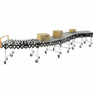 24 w Portable Flexible Expandable Conveyor Steel Skate Wheels 6 2 To 24 8