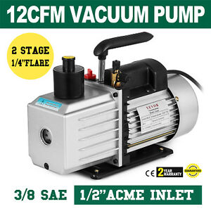 8cfm Two stage Rotary Vane Vacuum Pump 1 2 acme Inlet Oil Fill Port Hvac auto