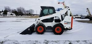 2011 Bobcat S750 Skid Steer Loader Wheel Kubota Enclosed Heat Ac Snow Pusher