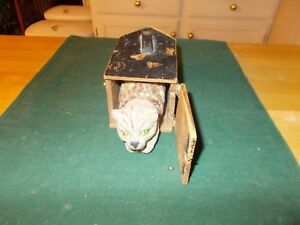 Late 1800s Made In Germany Cat Popping Out Of A Wooden Box Cat Is Composition