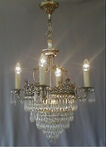 Antique Victorian 1910 1920 S Crystal Wedding Cake Chandelier Silver Plate