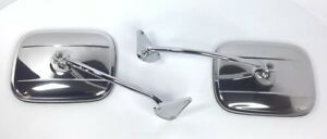 Chrome Mirror Brackets W Stainless Square Mirrors For 1955 59 Chevy Gmc Truck