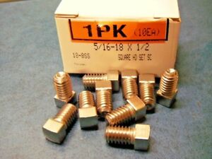 Mcmaster Carr 5 16 18 X 1 2 Square Head Cadmium Plated Cup Point Set Screws X10