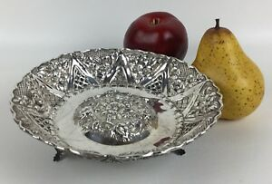 Antique Sterling Silver Footed Open Bowl With Flower Pattern 7 1 2