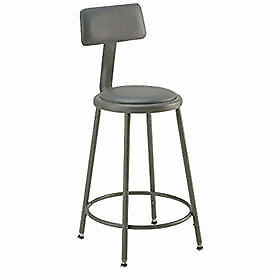 Vinyl Upholstered Steel Shop Stool With Padded Back Rest 18 27 h Lot Of 1