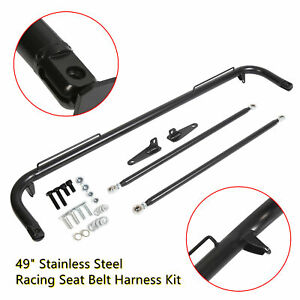 49 Black Mild Steel Racing Safety Seat Belt Chassis Roll Harness Bar Rod