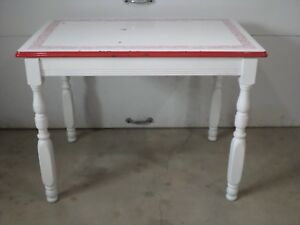 Vintage Enamel Porcelain Table Extra Top Red Country Dining Kitchen Metal Farm