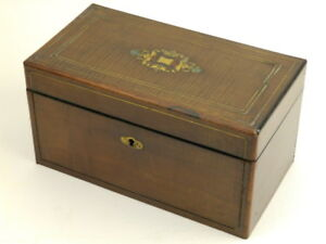 Antique English Wood Brass Inlay Tea Caddy Box 2 Compartments