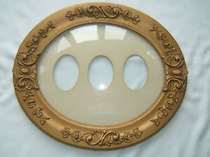 Antique Oval Convex Domed Bubble Glass Wood Picture Frame 22 X 18 3 4