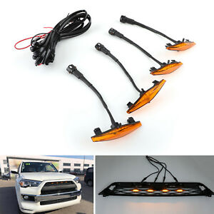 4pcs Plastic Car Grilles Led Lights Light For Toyota 4runner Trd Pro 2014 19 Us