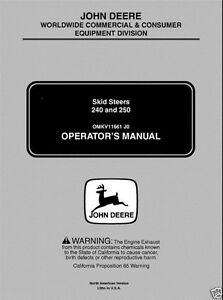 John Deere Jd 240 250 Skid Steer Loader Operator s Manual Omkv11661 Low Serial