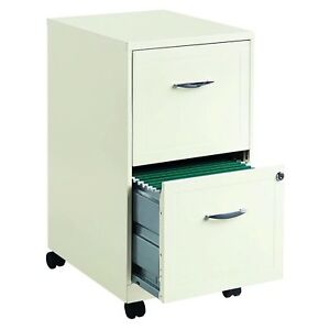 2 Drawer File Cabinet With Lock 18 Mobile White Metal Storage