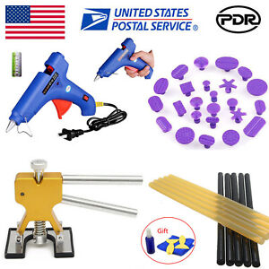 Paintless Dent Repair Removal Pdr Tools Puller Lifter Glue Gun Sticks Tabs Kit