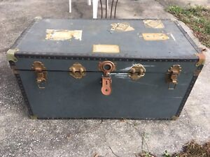 Vintage Antique Steamer Travel Trunk Navy Military Grey Addresses And Labels