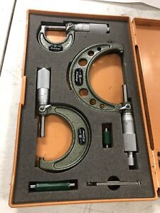 Mitutoyo 103 922 Outside Micrometers 0 3 0001 3 Piece Set Very Gently Used