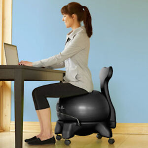 Balance Ball Chair W Wheels Back Pain Relief Posture Ergonomic Gaiam Ships Free