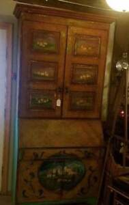 Large Antiqued Country French Painted Secretaire Desk Cupboard