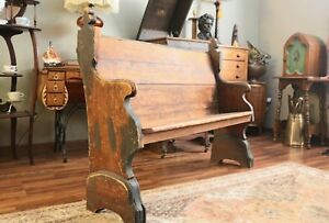 Antique Wooden 53 Distressed Gothic Church Pew With Curved Back