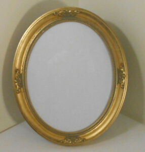 Gold Gilt Oval Wood Picture Frame Free Stand W Easel Or Hang W Glass 8 X 10