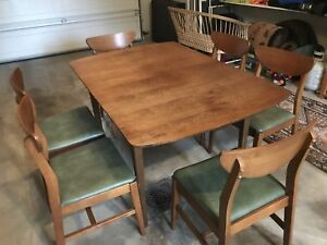 Mid Century Walnut Dining Table Set 3 Leafs 6 Chairs Lane