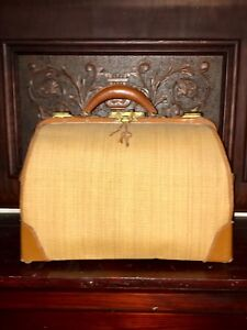 Victorian Antique Hartmann Gladstone Bag Midwife Medical Kit Luggage Tote Duffle