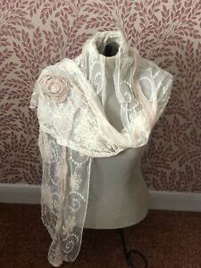 Antique Lace Shawl Veil 1920s 1910s Tambour Embroidered Cream French Bridal Old