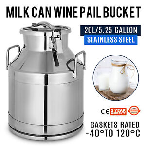 5 25 Gallon Stainless Steel Milk Pail Liquid Beer Wine Storage Rice Bucket Can