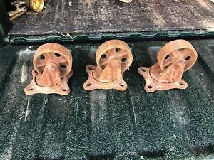 Lot Of 3 Steel Cast Iron Industrial Caster 4 Wheel Divine Vintage Vtg
