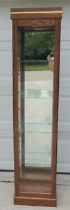 Vintage Small Oak Wood Glass Lighted Curio China Cabinet Display Case 4936