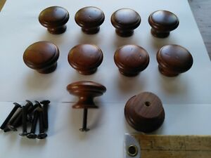 10 Vintage Wooden Drawer Knobs Brown Cabinet Furniture Wood Pulls