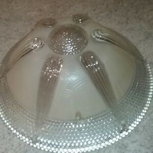 Antique Vintage Art Deco Glass Three 3 Chain Ceiling Light Fixture Glass Shade