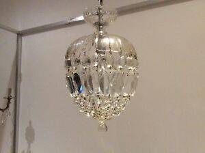 Gorgeous Vintage French Cut Crystal Glass Bag Chandelier C1920s