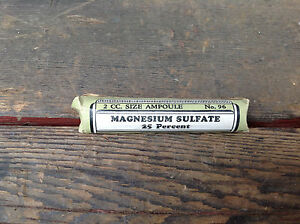 Small Tube Magnesium Sulfate 2 Cc Size Ampoule No 96 Eli Lilly Co Unopened