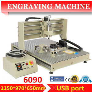 1 5kw Vfd Cnc Router 4 Axis 6090 Engraver Drilling Carving Machine Usb Port 110v