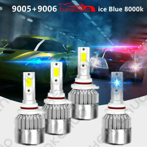 8000k Ice Blue 9005 9006 Led Headlight Kit 120w 24000lm Combo High low Beam Bulb